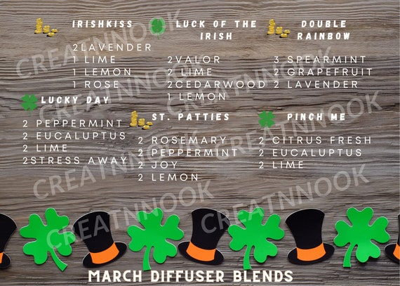 March Diffuser Blends St. Patricks Day St. Patty's Day Essential Oil Digital Download