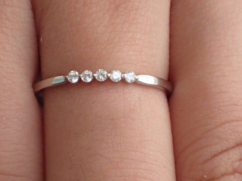 5 Stone Round Moissanite Wedding Band Engagement Ring 1.5mm Lab Diamond Simulants Band Bridal Ring 5 Stones Ring 14K White Gold