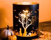 Halloween Candles | Halloween Candle Holder | Black Candle Holder | Glass Candle Holder | Halloween Decor | DIY Halloween Decor |