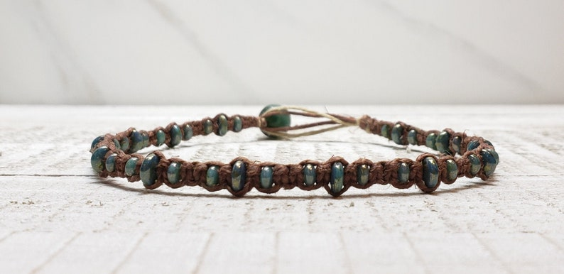 Removable Macrame Boho Beachy Destash Free Shipping Turquoise Bronze Picasso Hemp Ankle Bracelet Beaded Hemp Anklet ON SALE 10 12
