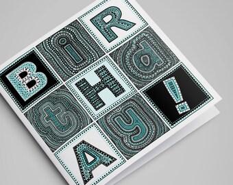 Turquoise Birthday! Card / Birthday Card / Happy Birthday Card / Greeting Cards / Blank Cards / Illustration