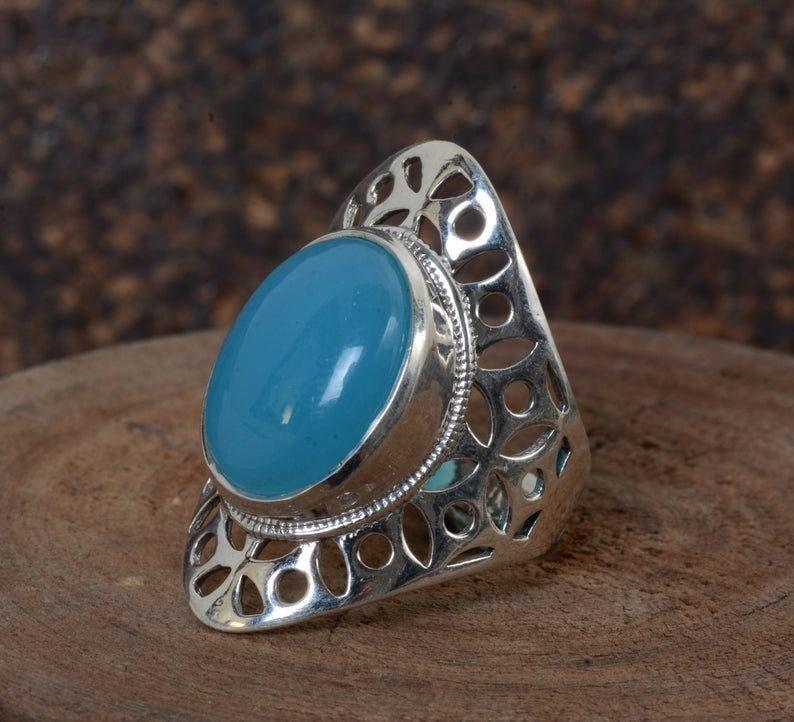 Blue chalcedony Ring,Handmade Ring,Unique Ring,Boho Ring,Anniversary Ring,Wedding Ring,Vintage Rings,Silver gemstone ring,Valentine Ring
