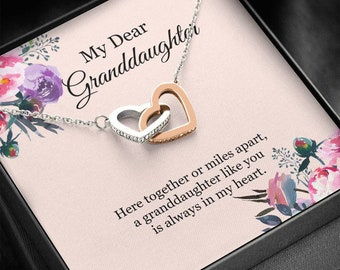 Granddaughter Necklace, To My Granddaughter Heart Necklace, Granddaughter Birthday Gift, Granddaughter Gift from Grandma Grandpa