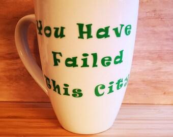 ARROW YOU HAVE FAILED THIS CITY COFFEE MUG 11oz  CUP  GIFTIDEA GREEN ARROW