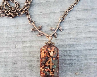 Autumn's Glow D4 Necklace - Dice, D&D, Dungeons and Dragons, Pathfinder, RPG, TTRPG