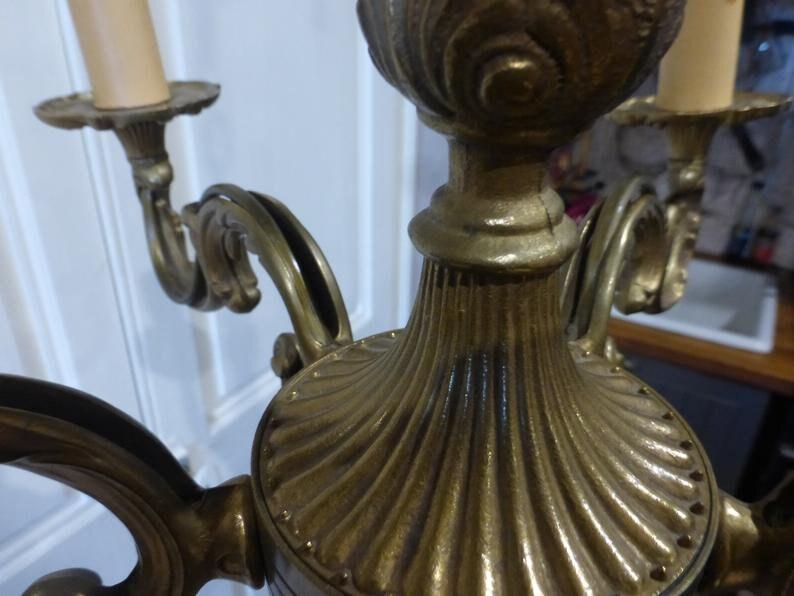 Bronze Chandelier 5 Branch French Vintage Light Circa 1960 zUkt5El9