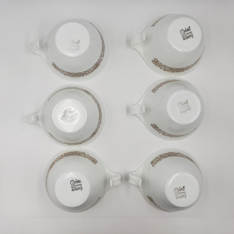 Set of 6 1970s Corelle Pyrex Woodland Brown teacups
