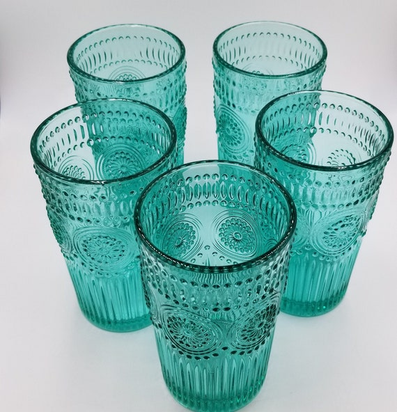 The Pioneer Woman Adeline 16 oz Embossed Glass Tumblers Set of 4 Teal KITCHEN