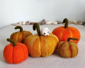 Needle felted pumpkin/Unique organic gift/Pumpkin soft sculpture/Needle felted vegetables