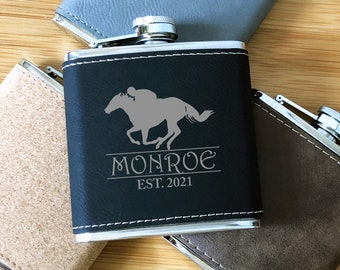 Running Horse 6 oz Hip Flask Personalised Hunting Gift Boxed FREE ENGRAVING 189
