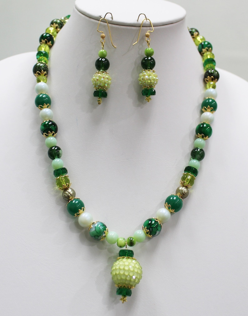 Shades of Green Crystals Green Glass and BoHo Beads Lolita Margarita Gold Plated Earwires with Stardust Bails