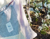 Zero waste produce bag, personalized drawstring bag, customized bag, linen recycled bag