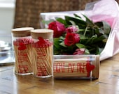 Long Matches Cork Lid Glass Jar - Red Coloured Tip Love Heart Perfect Match Open Fire Pit BBQ Candles Tealights Wax Melts Cigars Gift