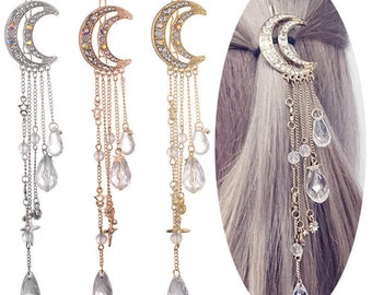 UK Seller NEW Beautiful Dangling Charm Crystal Moon Hair Clip 2 Colours