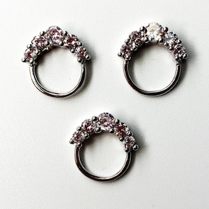 Rose Gold Roxy crystal nose ring Daith Piercing Septum Ring  Septum jewelry Septum piercing clicker Septum pincher Helix Conch tiny hoop