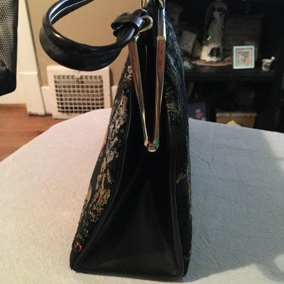 1950s 60s Tapestry Purses|Collectible Vintage Tapestry Top Handle Handbag|Brocade Statement Handbag Purse|Vegan Leather top Handle Handbag