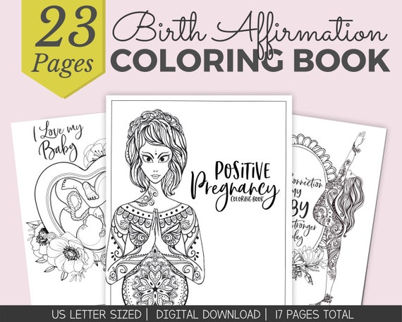Birth Affirmation Coloring Pages Pregnancy Coloring Pages Etsy