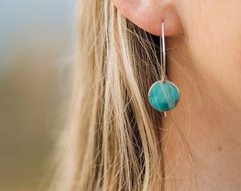 festival earrings bohemian earrings Patina copper earrings art earrings dangle long earrings copper earrings long triangle earrings