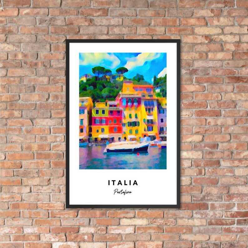 Italy Painting Italy Poster 12x18 inch Portofino Art Print Italy Wall Art Italy Art Print Portofino Painting Portofino Poster