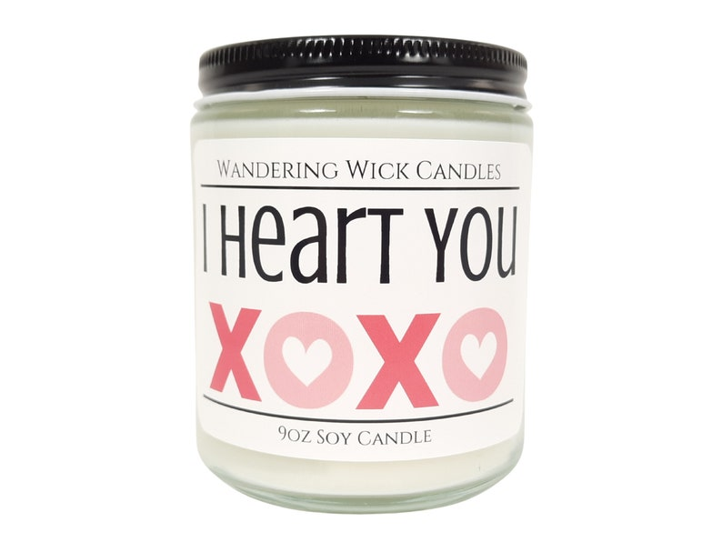 I Heart You XOXO and 16oz VALENTINES GIFT Soy Candle 9oz Valentine/'s Day Candle
