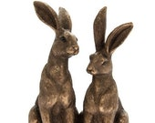 Two Bronze Sitting Hares Country Living Country Decor Homeware Cute Gifts Rabbit Gifts Giftware Ornament Sculpture
