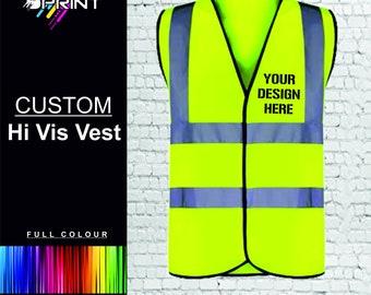 Personalised Hi Vis Vest Custom Printed Safety Waistcoat Jacket Adults Hi Viz