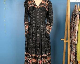 Vintage 70s Dark Floral PHASE II Folk Dress sz S  M Sheer Photo Print Midi Dress  Fairy Prairie Slip Dress  Boho Disco Fantasy