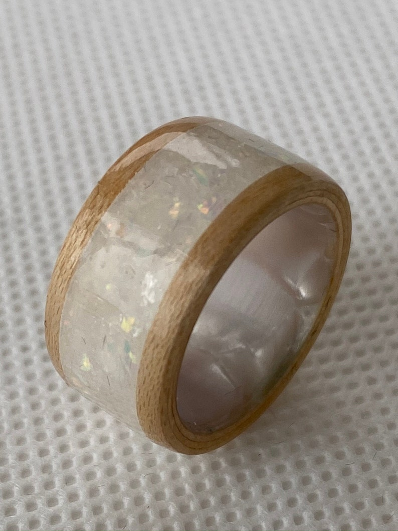 Handmade White Pearl Band with Natural Maple and MicaWhite Opal Inlay