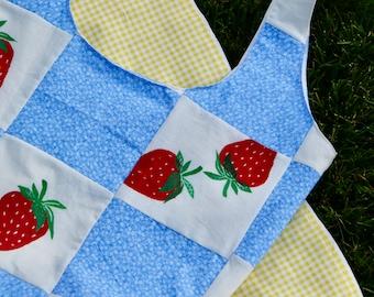 Tote Bag, Handmade with Muslin & Original Screen Print: Strawberries