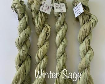 Sari Silk 10yd mini skein.    Winter Sage