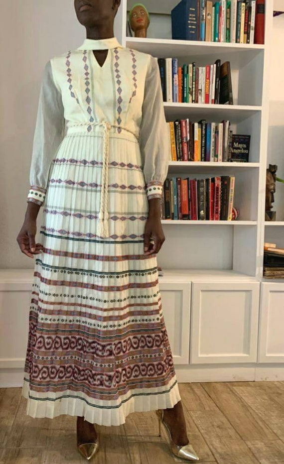 Vintage Alfred Shaheen 70s Dress/Size Small