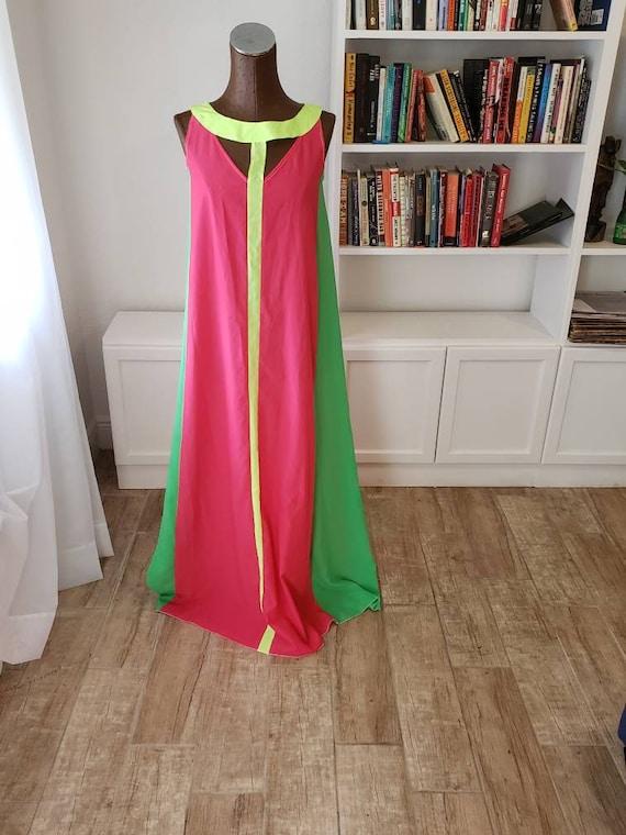 Neon Pink, Yellow, Green Color Block Dress-M/L