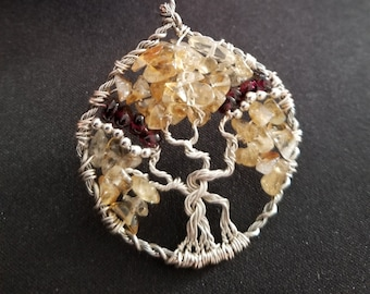 Hand Made Wire Wrapped Tree of Life Design One of a Kind Citrine Garnets