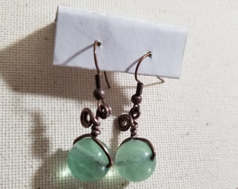 Green Fluorite Wire Wrapped Earrings ~ Heals Heart Ache and Emotional Wounds