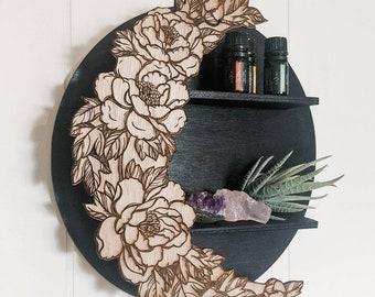 Floral Moon Shelf, Crystal Shelf, Essential Oil Shelf