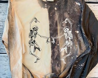Comfort Wash long sleeve split bleach skeleton tshirt; ultra soft lived in long sleeve tshirt; charcoal acid wash dancing skeleton shirt