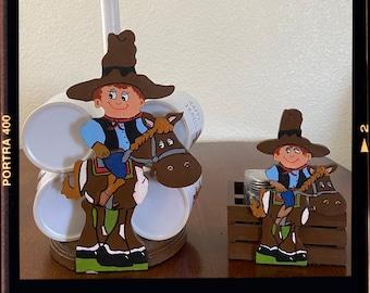 Happy Trails Cowboy Coffee Cup Holder / Paper Towel Holder plus Cowboy Horse Salt and Pepper Holder