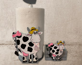 Matching Holy Cow Farm Cow Paper Towel Holder & Cow Salt N Pepper Holder