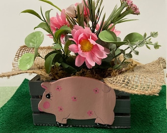 Cute Pink Pig Planter by Nan - All Planters are hand painted and originals!