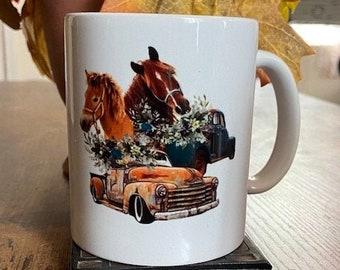Two Horses and a Farm Truck - Ceramic Coffee Mug 11oz