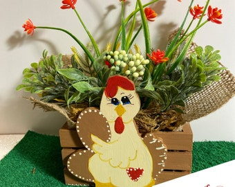 Cute Chicken Planter by Nan - All Planters are hand painted and originals!