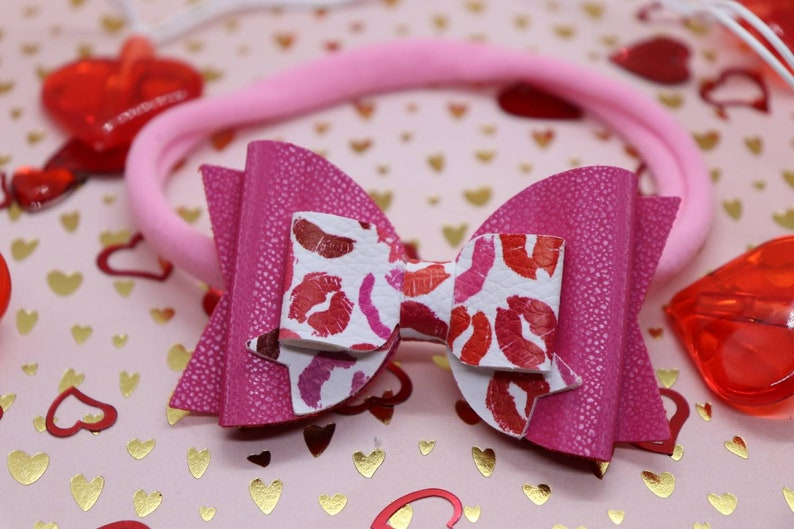 Kisses faux leather baby headband