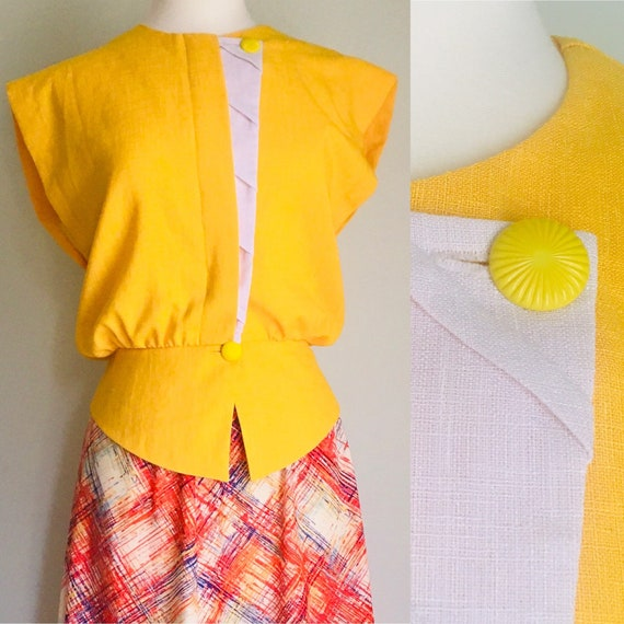 Yellow and white cinched waist cross heart 1980's