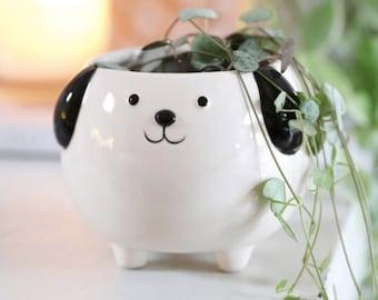 Standing White Dog Planter Pot for Succulents   Dog Lovers Gift   Dog Vase   Animal Planter   Housewarming Gift   Succulent Pot   Hostess