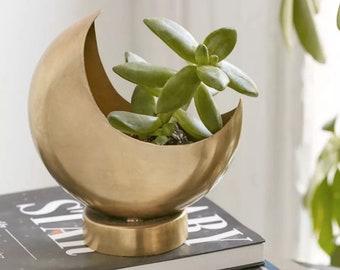 Gold Half Moon Planter Pot for Succulents, Cactuses & Air Plants | Moon Pot | Space Planter