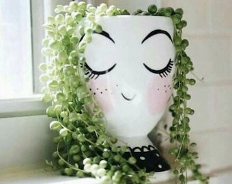Face Planter Pot w/ Closed Eyes For Succulents & Plants   Lady Planter   Winky Face Pot   Facepot   Christmas Gift   Housewarming   Hostess