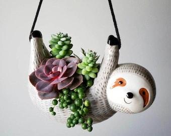 Sloth Hanging Planter Pot for Succulents & Plants | Succulent Arrangement | Unique Gift Ideas | Christmas Gift | Holiday Gift | Housewarming