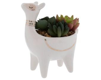 Llama Planter Pot | Planter | Animal Planter Faux Succulents In a Llama Planter Pot | Ceramic Planter | Standing Planter | Succulent pots |