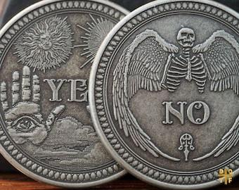 Yes or No Decision Coin Skull Coin Lucky Coin Divination Coin Lucky Coin Toss Coin Lucky Charm Antique Copper Coin