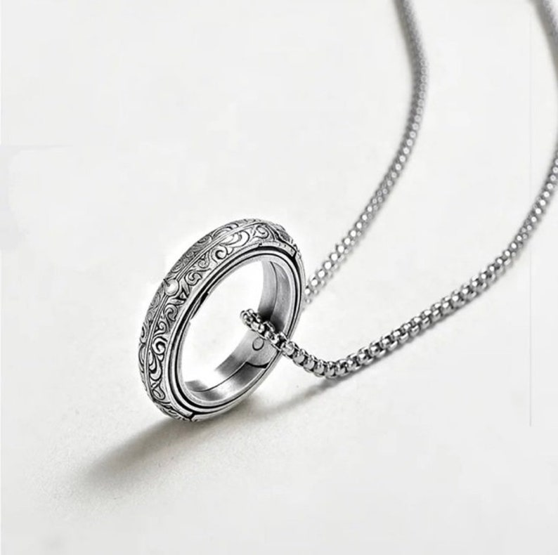 Silver Astronomical Ring Horoscope Ring Womens Armillary Ring Necklace Galaxy Ring Stainless Steel Ring with Moving Parts